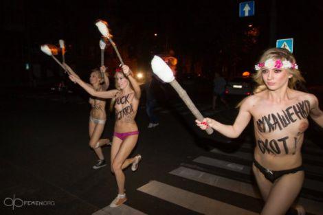 FEMEN виганяли Лукашенка з Києва (ФОТО)